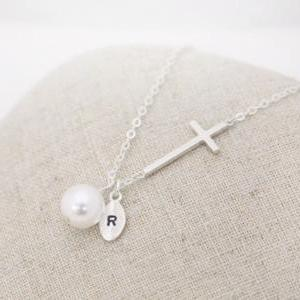 Sterling Silver initial necklace, S..